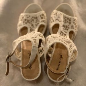 Chunky White Lace American Eagle Heels